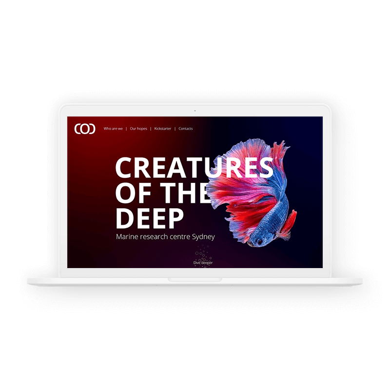 Creatures of the deep website concept
